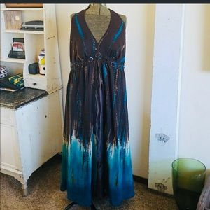 Gorgeous brown and blue Maxi dress Size 14W